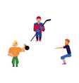 flat adult men doing exercise sports set vector image vector image