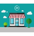 Flat color background - shop building vector image vector image