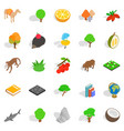 forest life icons set isometric style vector image