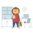 funny cartoon animal student a lion schoolboy vector image vector image