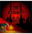 Gate to the cemetery and a cart with pumpkin vector image vector image