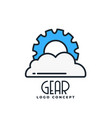 gear and cloud logo concept background vector image