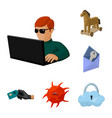 Hacker and hacking cartoon icons in set collection