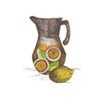 hand drawing jug with lemonade vector image vector image