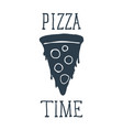 hand drawn pizza slice with pizza time lettering vector image vector image