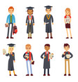 happy students and graduates young learning people vector image