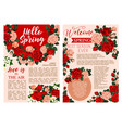 hello spring floral poster with rose flower frame vector image vector image