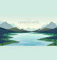 lake at nature sunset with mountains landscape vector image