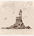 lighthouse on shore vector image