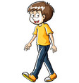 man with yellow shirt and jeans vector image