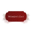 March 8 Womens Day red realistic Card on Ribbon vector image