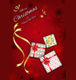 merry christmas red background with gift box vector image