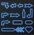 neon sign arrows symbols set vector image vector image