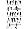 people on ladders vector image vector image