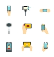 Photography on smartphone icons set flat style vector image vector image