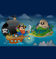 pirate ship theme image 4 vector image vector image
