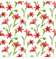 realistic red lily blossom leaves stem set vector image vector image