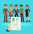 recruitment recruiter choosing candidates with cv vector image vector image