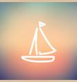Sailboat thin line icon vector image vector image