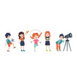 school children in classroom on lessons back vector image