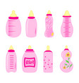 set of baby bottles for girl in vector image vector image