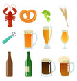 set of beer glasses bottle and snack vector image