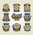 set of colorful emblems logos stickers vector image vector image