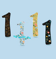 set of numbers one with watercolor flowers vector image vector image