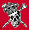 skull king crown black red diamond vector image