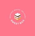 sweet box logo cake emblem bespoke bakes cafe vector image vector image