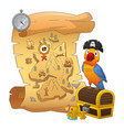 treasure map and treasure chest vector image vector image