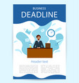 vertical poster businessman in a suit working on vector image