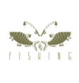 vintage fishing design template with breams vector image