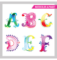 watercolor alphabet - abc painted letters a-f vector image