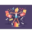 Young blonde goes shopping vector image vector image