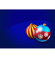 Christmas baubles on blue background vector image