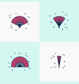 thin line handheld fan icons opened half-opened vector image