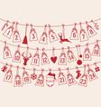 advent calendar with christmas bags set advent vector image