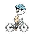 boy cartoon bicycle isolated vector image