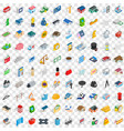 100 metropolis icons set isometric 3d style vector image vector image