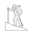 a man hiking on the mountain outline vector image