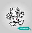 angry sewn voodoo cat halloween sticker art vector image