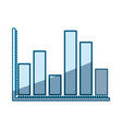 blue shading silhouette of statistical graphs with vector image vector image