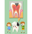 Boy and girl with tooth decay diagram vector image vector image