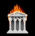 burning building bank on black background
