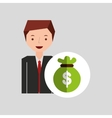 character businessman with bag money vector image vector image
