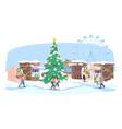 christmas fair flat xmas street market funfair vector image vector image