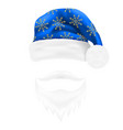 christmas hat santa claus and beard with a vector image vector image