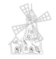 coloring book abandoned windmill vector image vector image