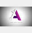 creative letter a logo with purple gradient and vector image